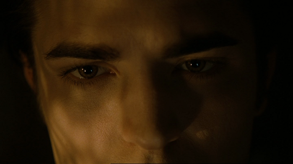 An extreme close-up showing part of Edward's forehead, his eyebrows, eyes, and nose with warm light reflecting off of them.