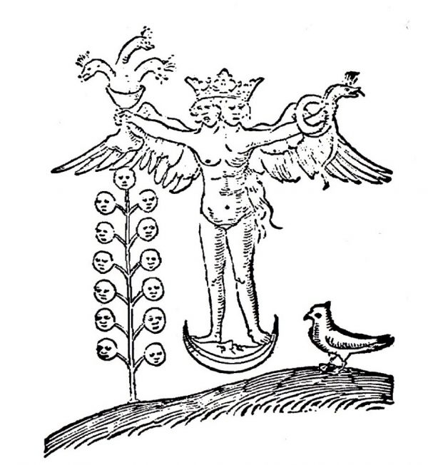 A black and white line drawing of a naked winged hermaphroditic figure standing on the moon, holding a serpent in one hand and a cup containing a dragon in the other.