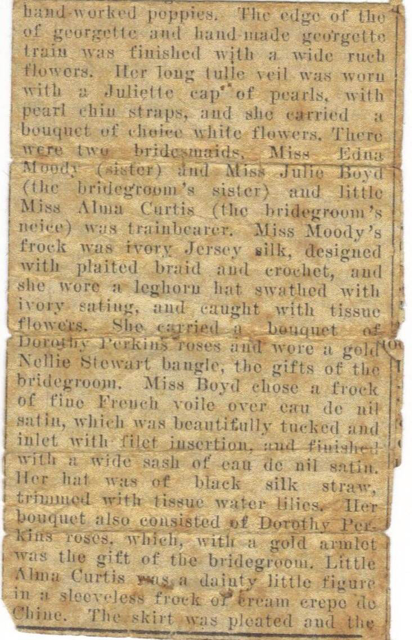 Fig. 7. Right. 'Wedding Party' (Moody/Boyd) 2 April, 1923 The Darling Downs Gazette (clipping). Nellie Stewart bangles are listed as gifts from the bridesgroom (my grandfather)