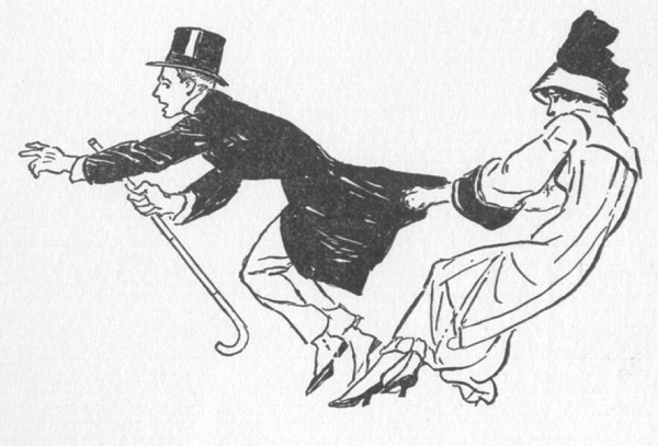 Close up drawing of a woman grabbing a man's coattails as he tries to get away.