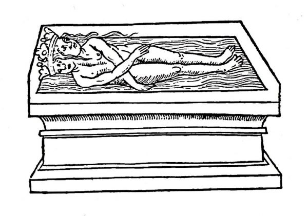 A black and white line drawing of a naked figure that is half male and half female lying on a platform.