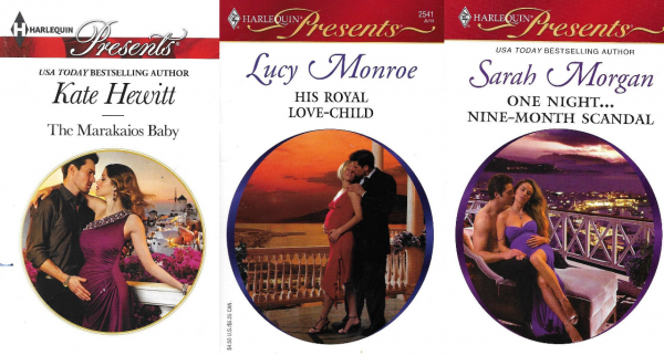 Three Harlequin Presents covers, each featuring a visibly pregnant woman in an evening gown being embraced by a man.