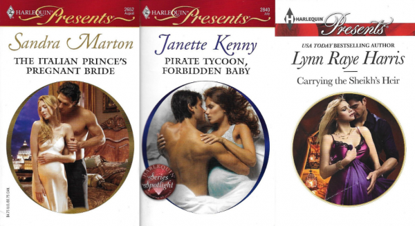 Harlequin novel covers with circular images showing close-up views of men holding visibly pregnant women wearing elegant nightgowns.